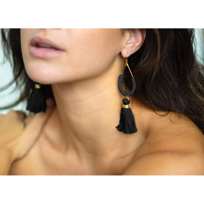 Black Tassel Tear Drop Earrings | Vai Beach