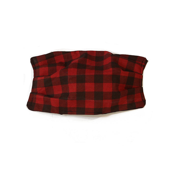 Kid's Black and Red Gingham Cotton Mask