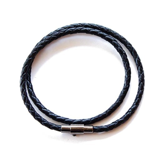 Black Leather Wrap Rope Bracelet | Tulum