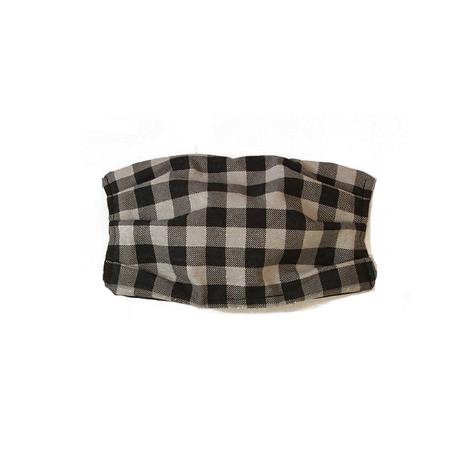 Kid's Black and Grey Gingham Cotton Mask
