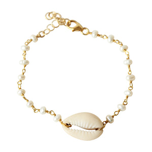 Cowrie Shell and Pearl Bracelet