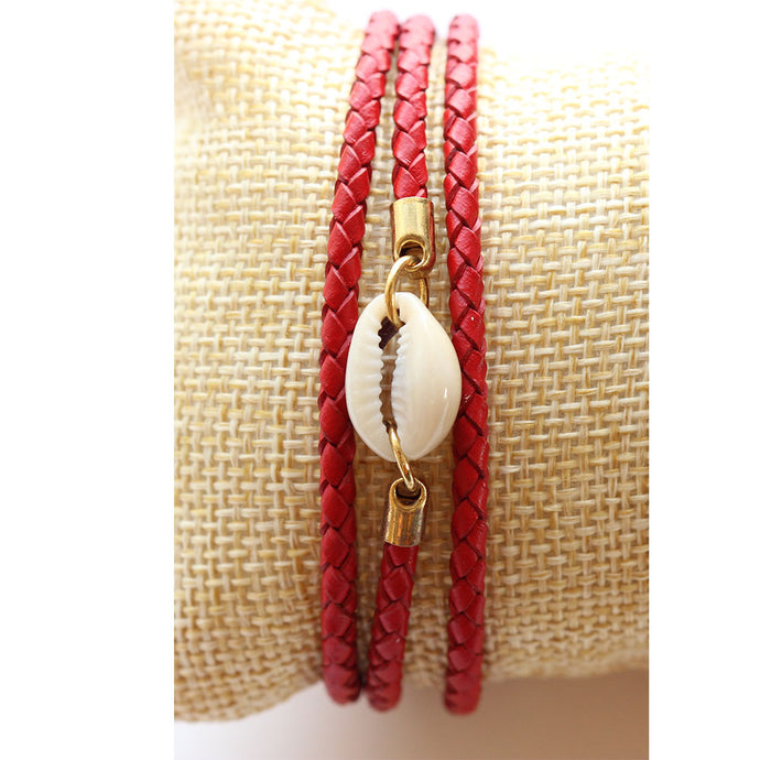 Triple Wrap Leather Charm Bracelet