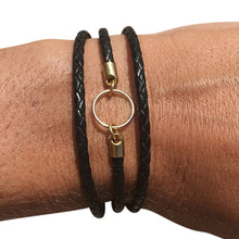 Triple Wrap Black Leather Charm Bracelet