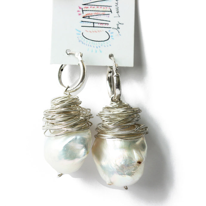 Silver Huggie Baroque Pearl Earrings  | Tahiti Beach