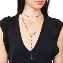 Black Beaded Lariat