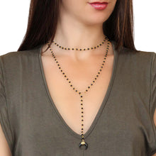 Black Beaded Horn Lariat