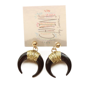Black Horn Stud Earrings | Cala Gracioneta