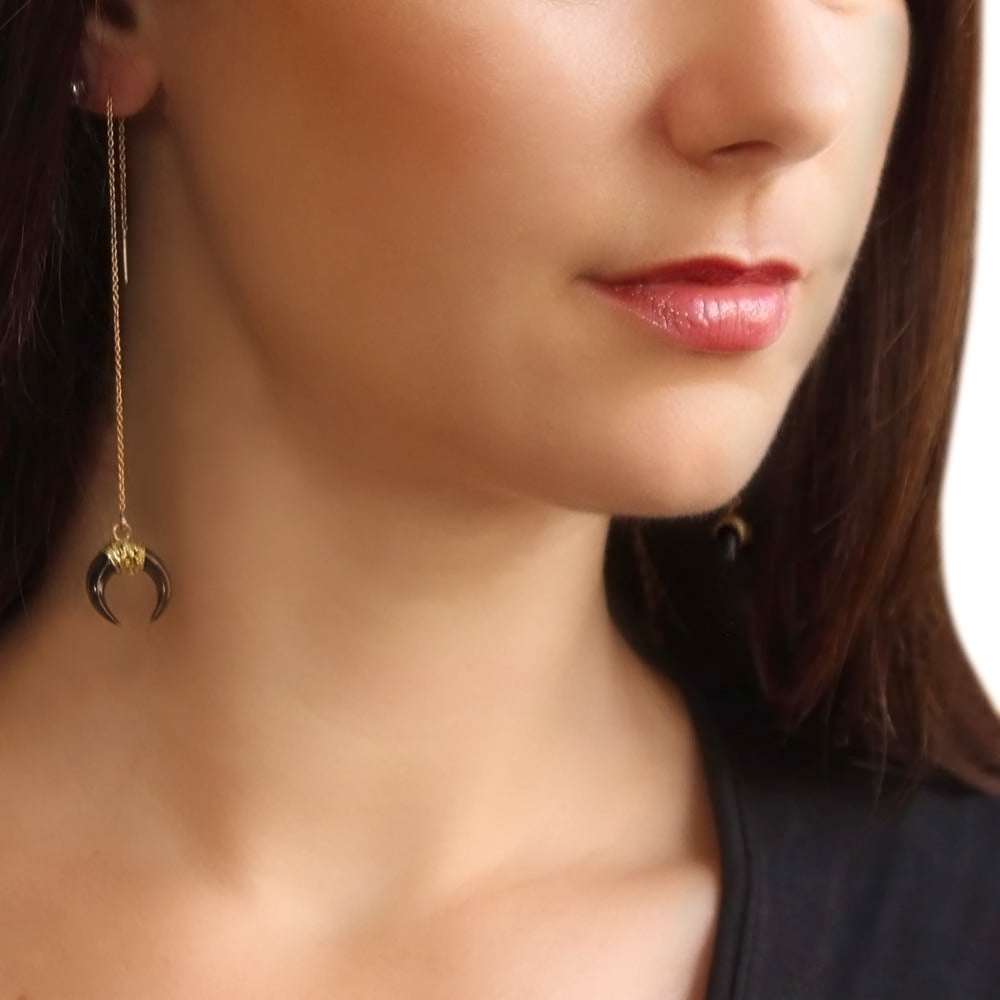 Black Horn Threader Earrings