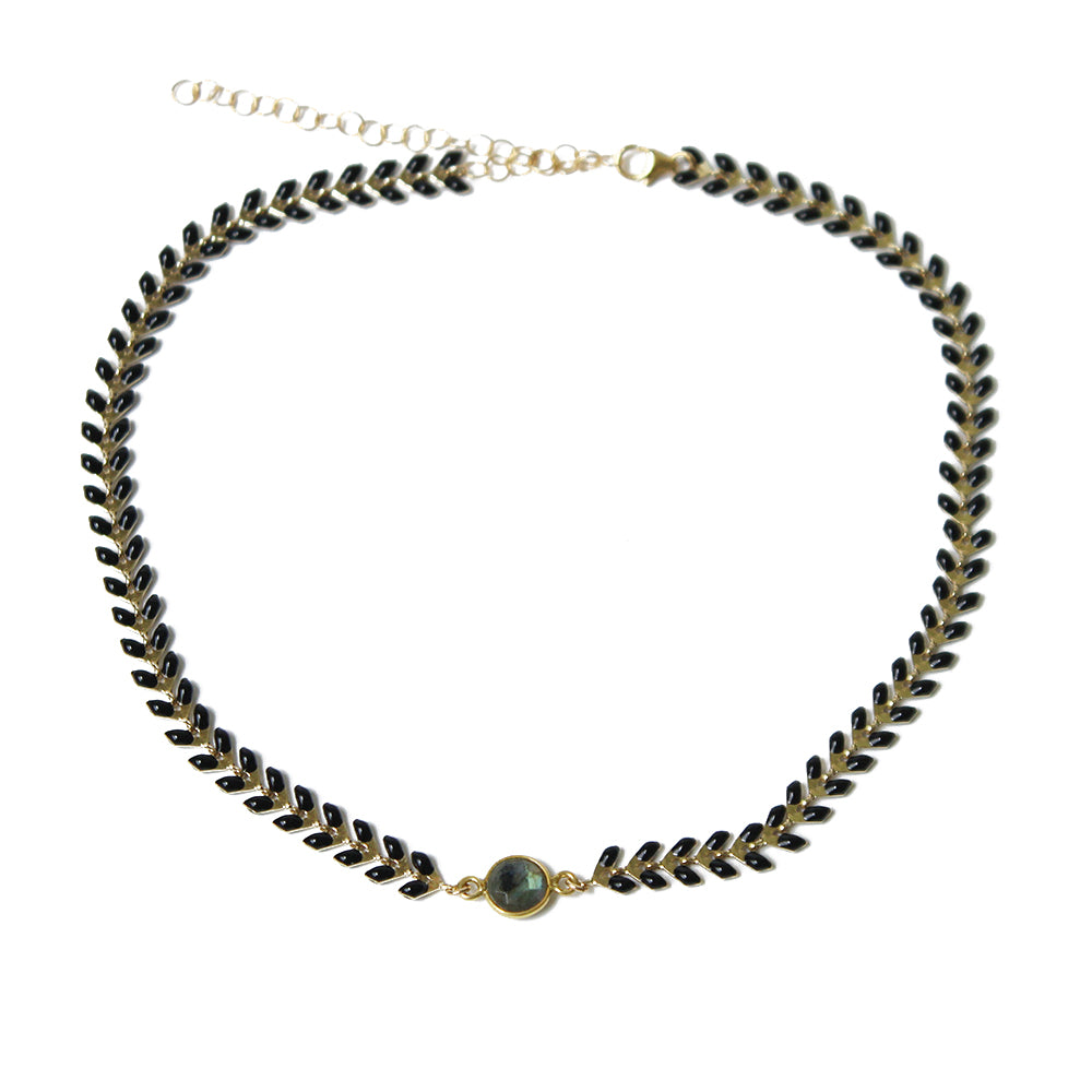Black Wheat Choker with Stone | Kaimu