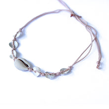 Dusty Rose Cowrie & Silver Bead Charm Bracelet | Shell Beach