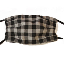 Black and Grey Gingham Cotton Mask