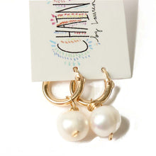 Gold Huggie Pearl Earrings  | Tahiti Beach
