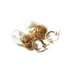 Gold Huggie Baroque Pearl Earrings  | Tahiti Beach