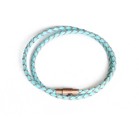 Thin Turquoise Double Wrap Leather Bracelet