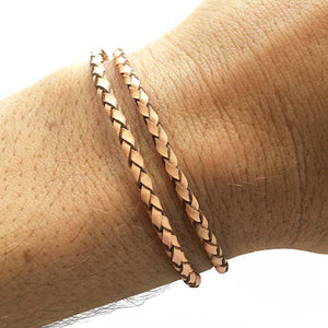 Beige Double Wrap Leather Bracelet