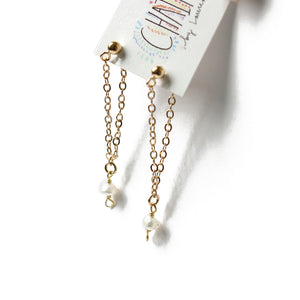 Fresh Water Pearl Gold Loop Earrings | Anse des Flamands