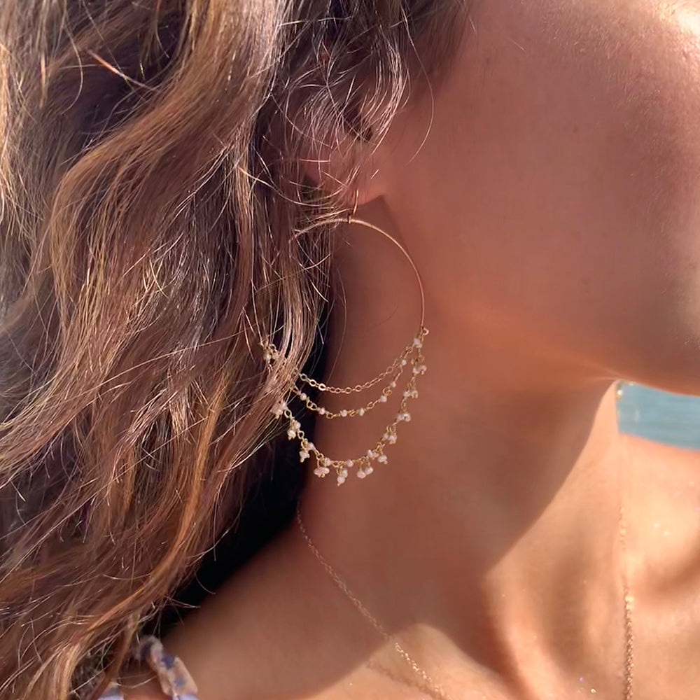 Dangle Pearl Hoops | Balos