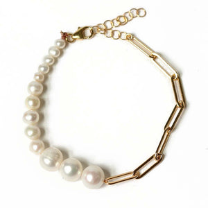 Paper Clip Gold Chain and Pearl Bracelet | Lagos Beach