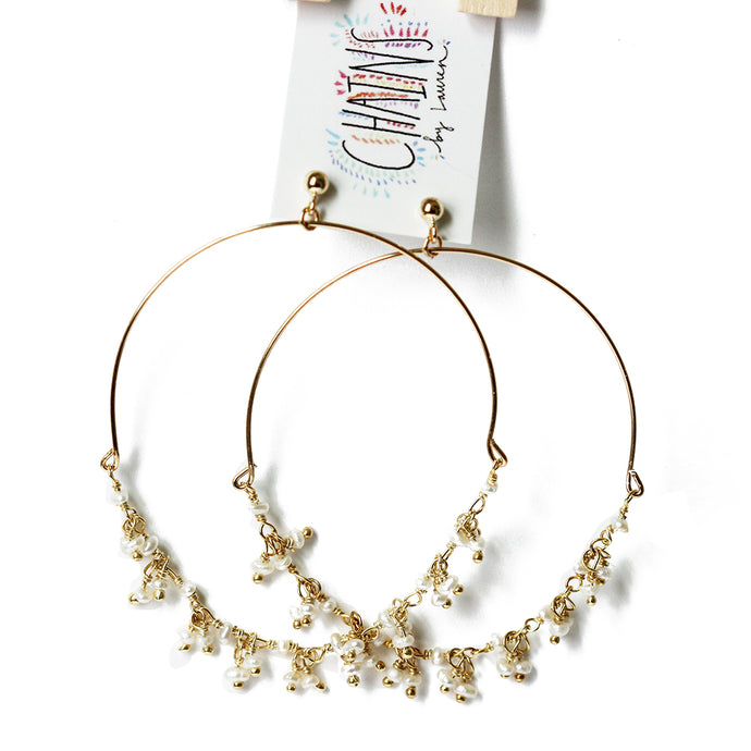 Single Strand Dangle Pearl Hoops | Balos