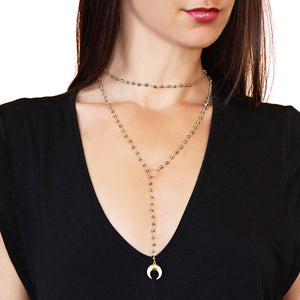 Pyrite Beaded Wrap Lariat