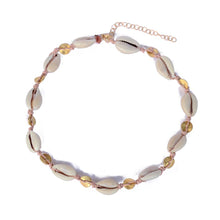 Dusty Rose Cowrie & Gold Bead Choker | Shell Beach
