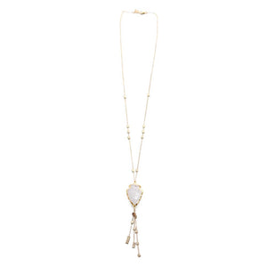 Rose Quartz Tassel Necklace | Pink Beach