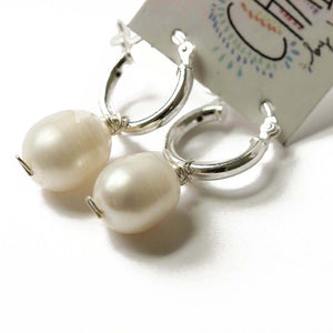 Silver Huggie Pearl Earrings  | Tahiti Beach