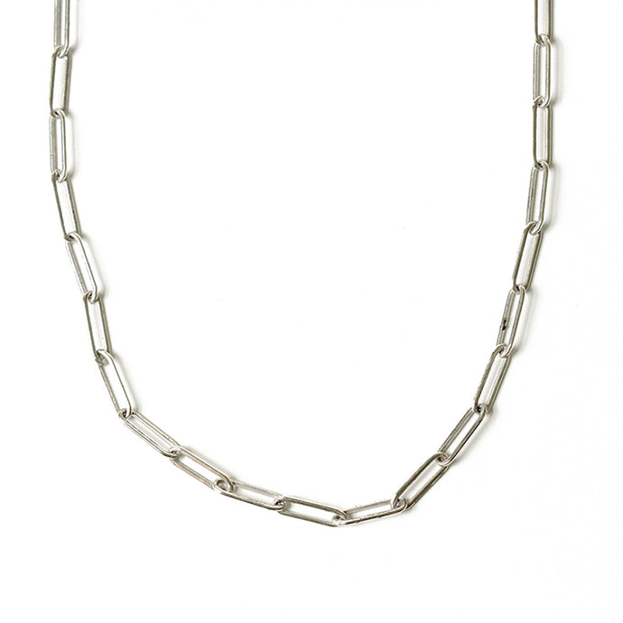 Silver Paper Clip Chain Necklace | Malibu Beach
