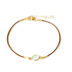 Brown Leather Chalcedony Charm Bracelet | Bora Bora