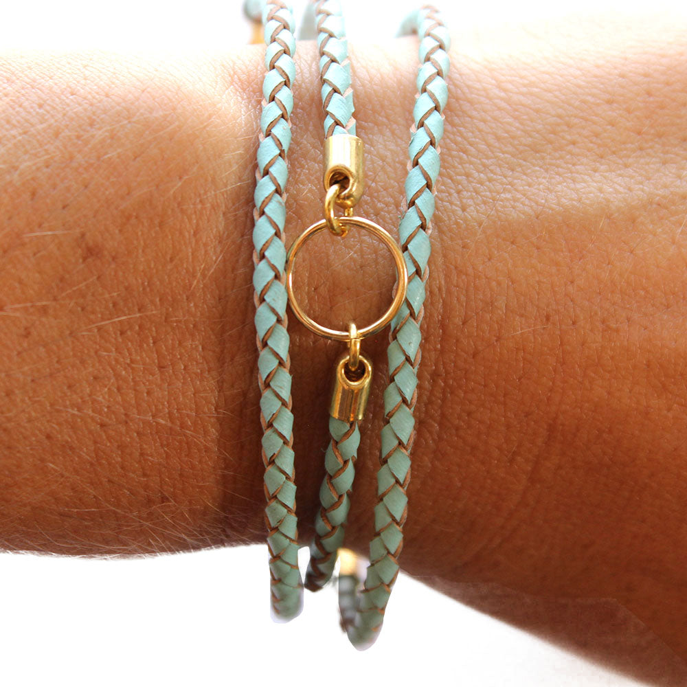 Turquoise Triple Wrap Leather Charm Bracelet
