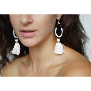 White Tassel Tear Drop Earrings | Bora Bora