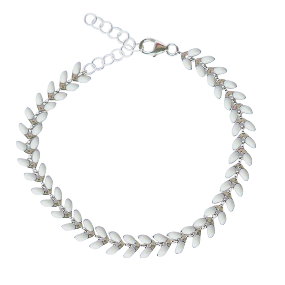 White and Silver Wheat Bracelet