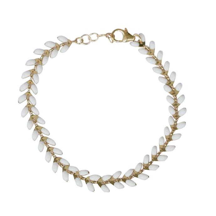 White and Gold Wheat Bracelet | Vai Beach