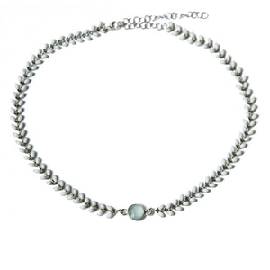Silver and White Wheat Choker with Stone | Turqs and Caicos