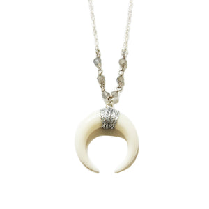 "White and Silver Horn Necklace 18""- 24"" 