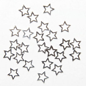 Fuschia Nail Art - Silver Metal Star - Small