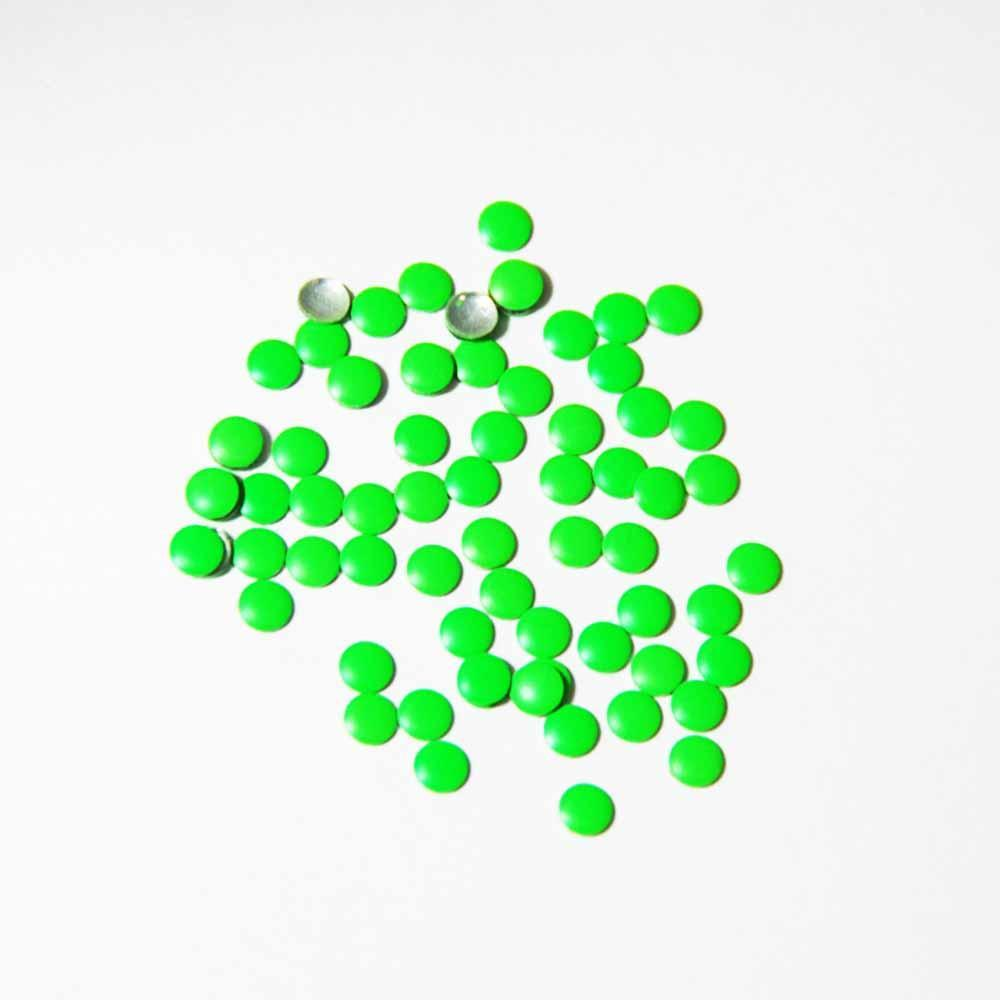 Fuschia Nail Art - Neon Green Studs - Small Circle