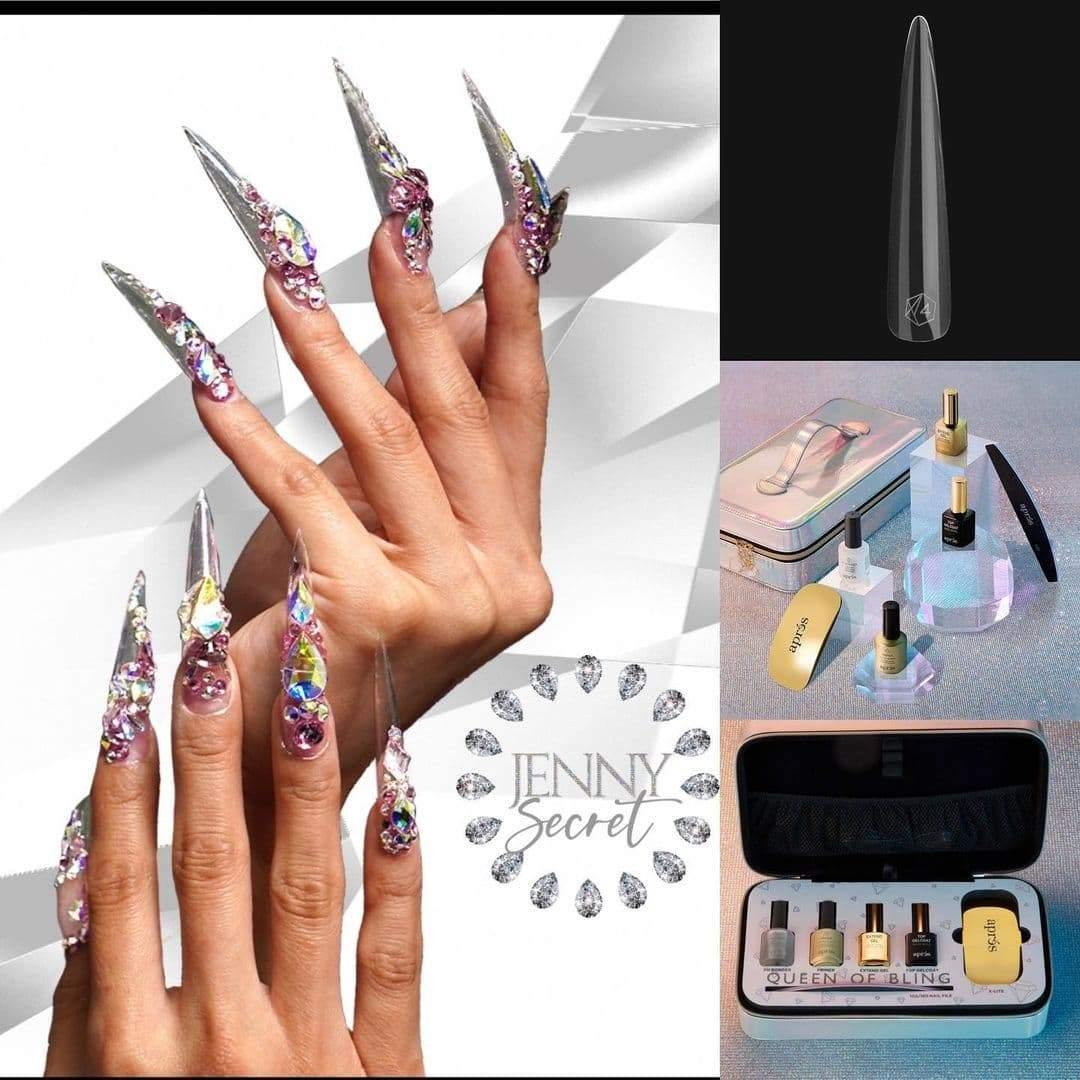 Apres Gel-X Tips - Jenny Queen of Bling - Sculpted Stiletto Extra Extra Extra Long