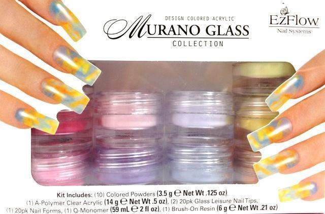 Ez Flow, Ez Flow Colored Acrylic Collection - Murano Glass Kit, Mk Beauty Club, Colored Acrylic Powder