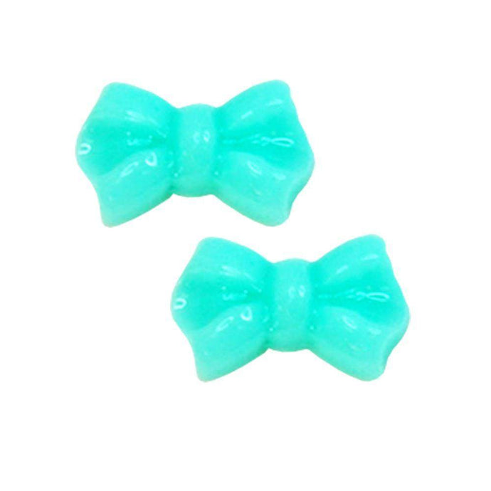 Fuschia Nail Art - Plastic Bow - Mint
