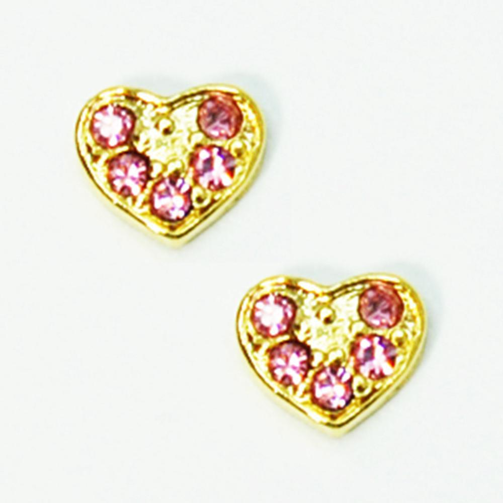 Fuschia, Fuschia Nail Art - Heart Small - Gold/Pink, Mk Beauty Club, Nail Art