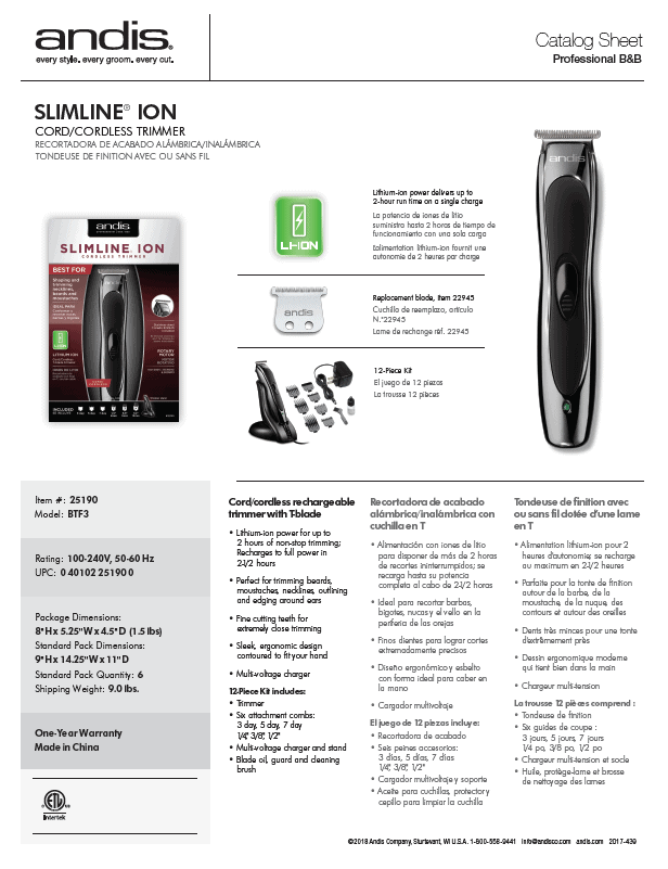 Andis, Andis Slimline Ion Cord Cordless Trimmer, Mk Beauty Club, Hair Trimmer
