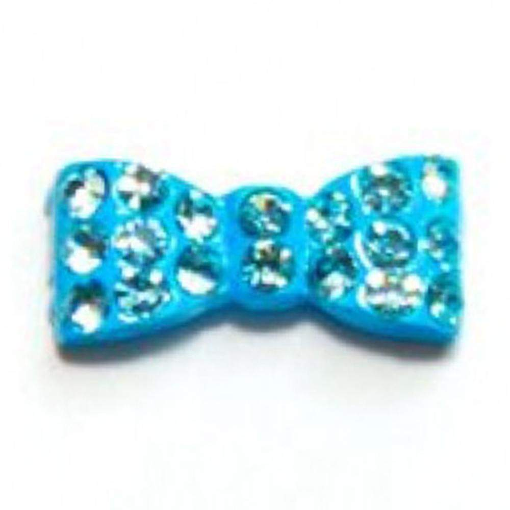 Fuschia Nail Art - Rectangle Bow - Baby Blue