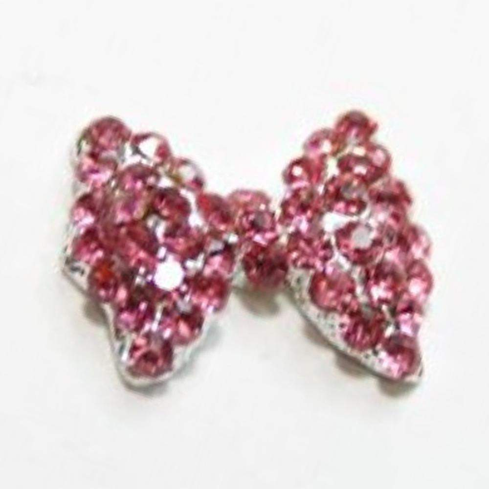 Fuschia, Fuschia Nail Art Charms - Crystal Glam Bow - Pink/Silver, Mk Beauty Club, Nail Art Charms