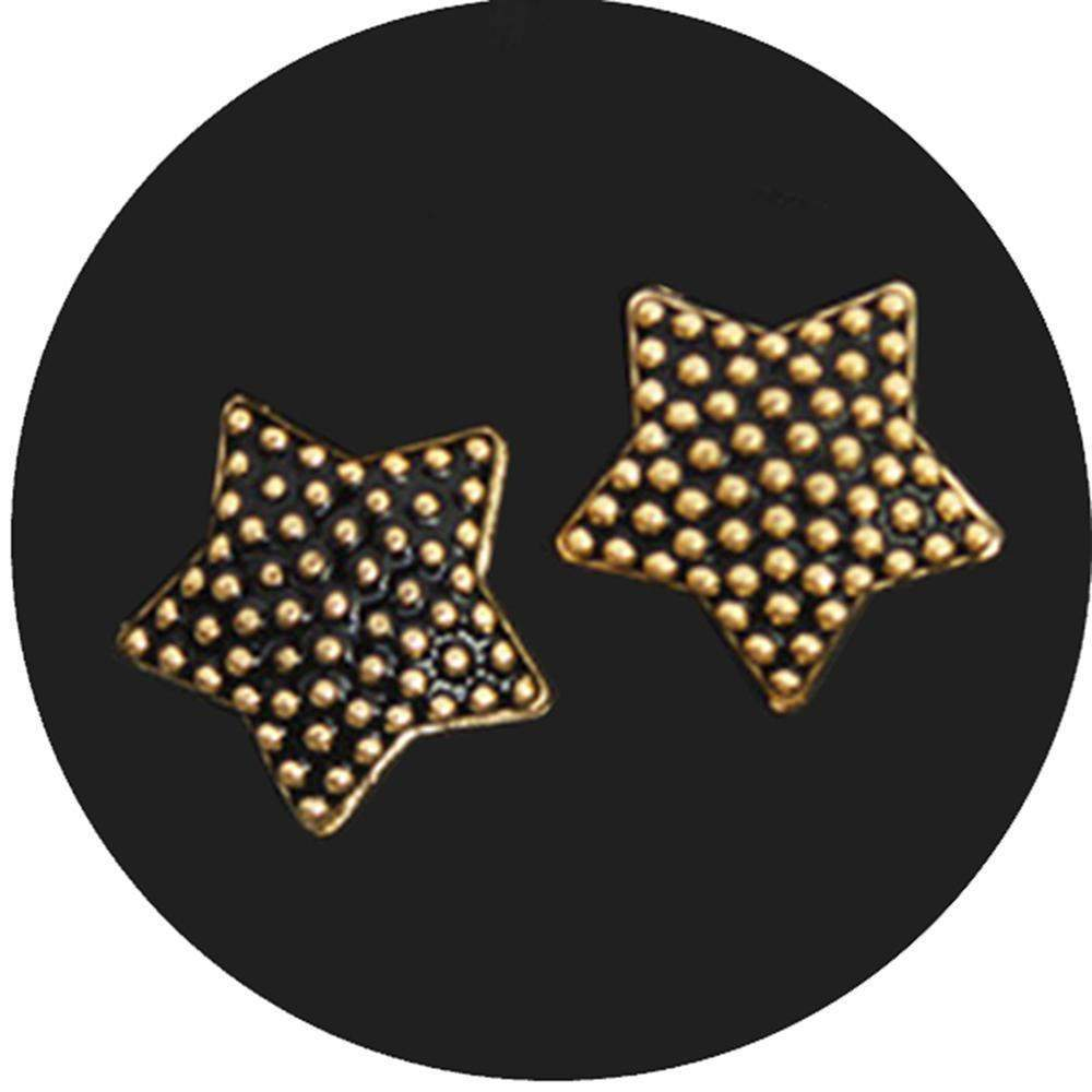 Fuschia, Fuschia Nail Art Charms -  Textured Stars - Black, Mk Beauty Club, Nail Art Charms