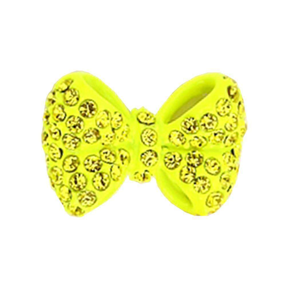 Fuschia Nail Art -  Neon Bow - Yellow