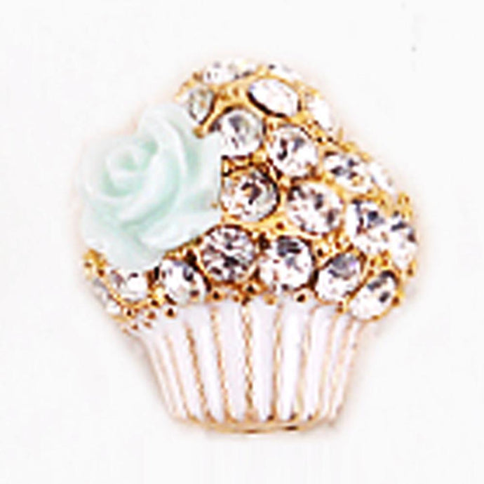 Fuschia Nail Art ?€? Large Cupcake - Blue/White