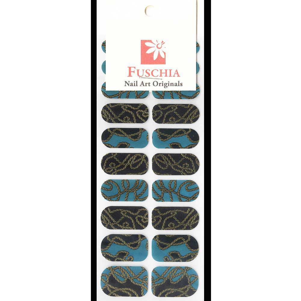 Fuschia, Fuschia Nail Wraps - Golden Turquoise, Mk Beauty Club, Nail Wrap