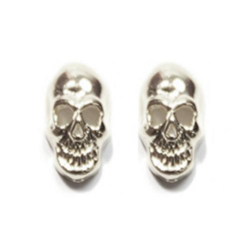 Fuschia Nail Art - Small Skull - Silver