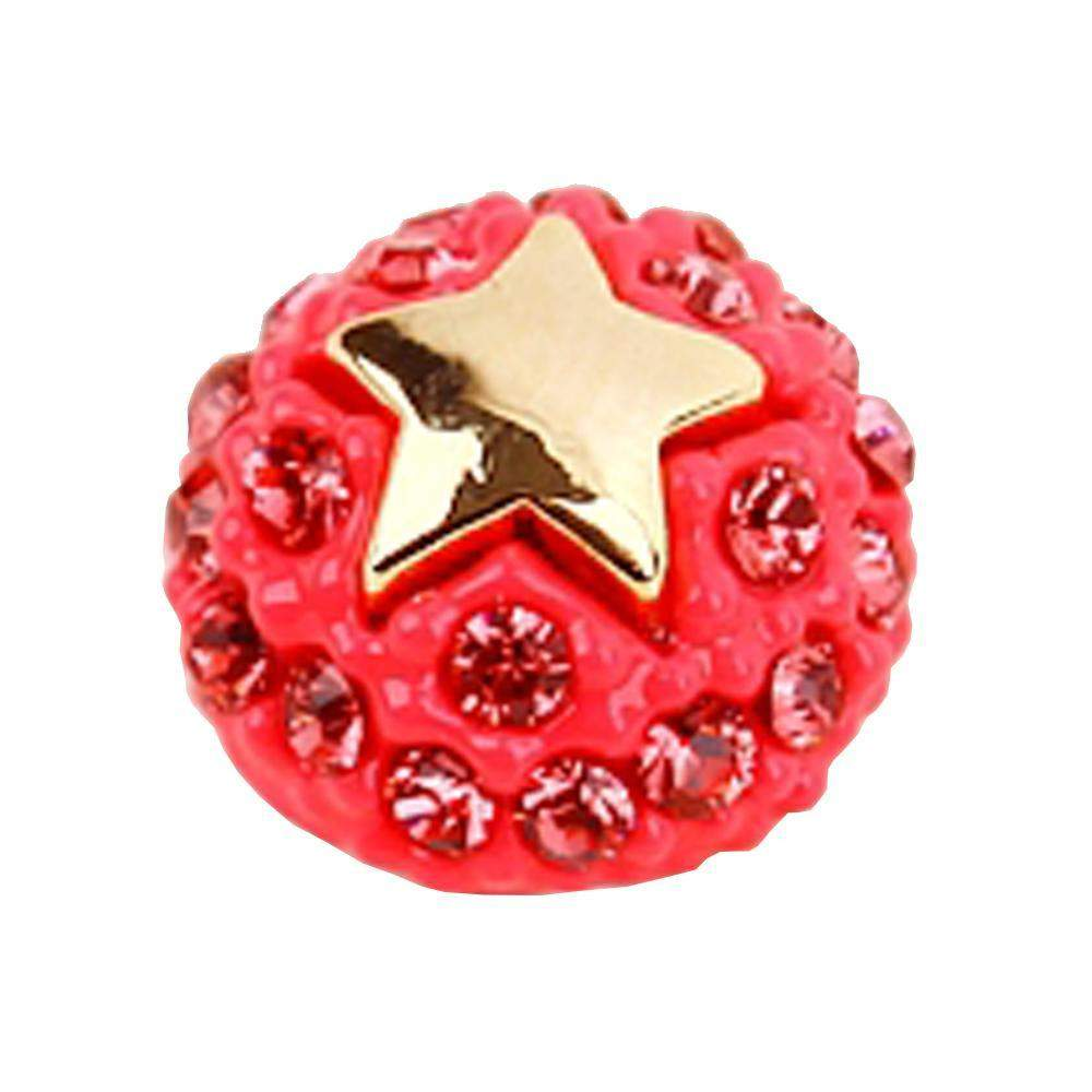 Fuschia Nail Art - Ball & Star - Neon Pink